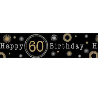 60th Birthday Banner - Happy Birthday Gold & Black