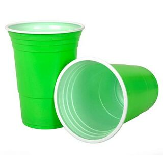Beer Pong Cups Green 450ml Pk25