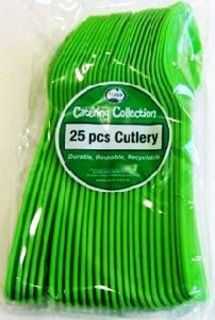 Cutlery Spoons Lime Green Pk25