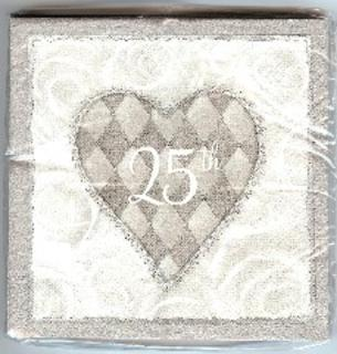 Napkins - 25th Silver & White with Hearts Beverage