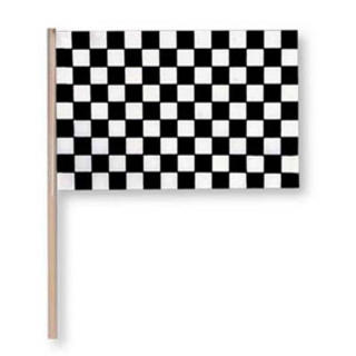 Flag Black/white check 15cmx10cm wood stick