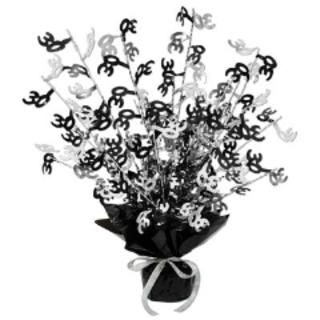30th Birthday Centrepiece - Gleam 'N Burst - Black & Silver