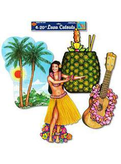 CUT OUTS - LUAU  PRINTED 2 SIDES 20IN.