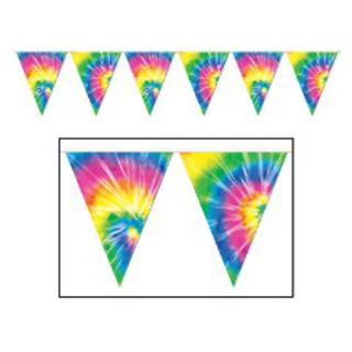 Retro Tie-Dyed Pennant Banner
