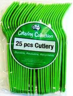 Cutlery Forks Lime Green Pk25
