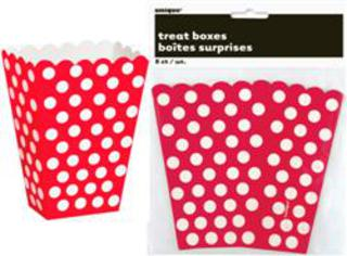Treat Boxes Dots Red Pk8