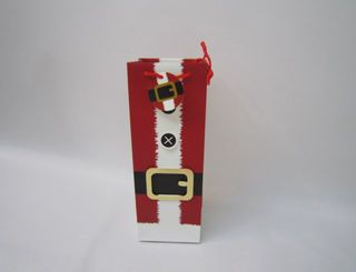 Xmas Bag Wine Santa Suit Foil