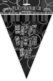 Banner Glitz Birthday Flag Black 3.6M