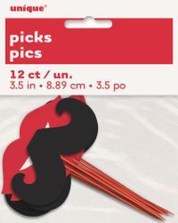 Picks Lips & Moustache 9cms Pk12