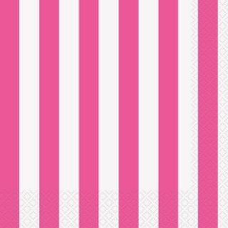 Napkins Stripes Lunch Hot Pink Pk16