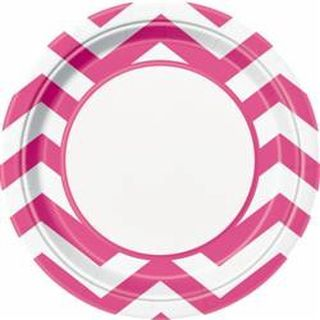 Plates Chevron Hot Pink 22cm Pk8