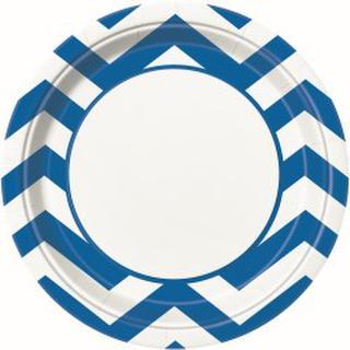 Plates Chevron Blue 22cm Pk8