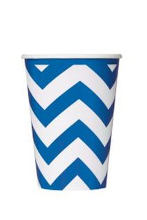 Cups Chevron Blue Pk6