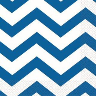 Napkins Chevron Lunch Blue Pk16