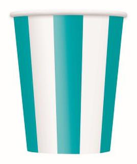 Cups Stripe Teal Pk6