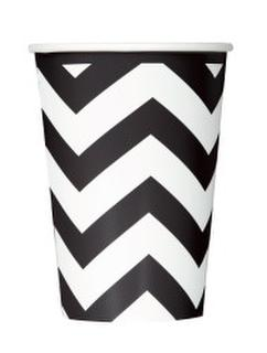 Cups Chevron Black Pk6