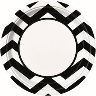 Plates Chevron Black 22cm Pk8