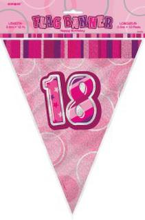 Bunting Flag Pennant Banner Glitz Pink 18