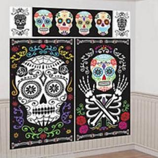 Halloween Wall Deco Kit Day of The Dead Pk5