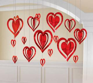 Cutouts Hanging Hearts 3D Pk16