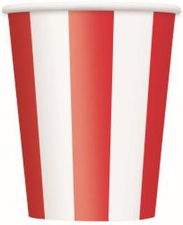 Cups Stripes Red Pk6