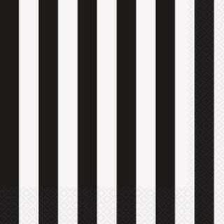 Napkins Lunch Black Stripes Pk16