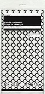 Table Cover Quatrefoil Black 137x274