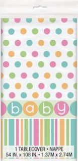 Baby Shower Pastel Table Cover 137x213cm
