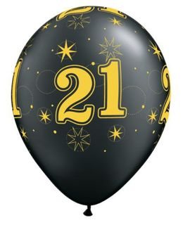 Balloons - Numbers Around 21st Gold on Black Sparkle