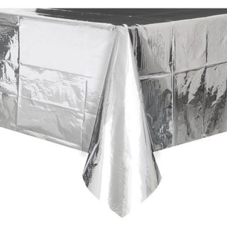 Table Cover Plastic Metallic Silver