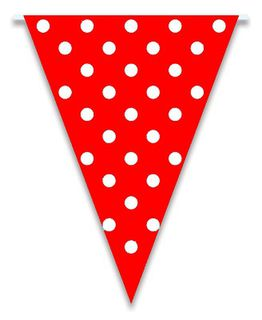 Flag Bunting Dots - Red 28cm x 5M