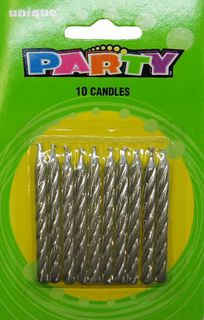Candles Silver Spiral Pk10