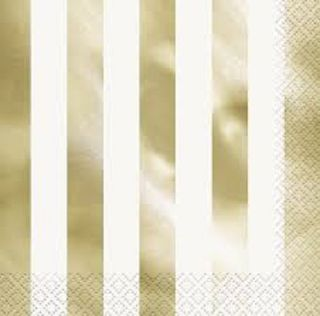 Napkins Lunch Foil Stripes Gold 16