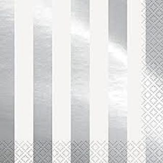 Napkins Lunch Foil Stripes Silver 16