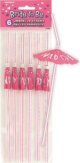 Bride To Be Umbrella Straws Pk5