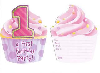 Invitations - !st Birthday Pink