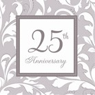 Napkins Beverage 25th Ann Elegant Scroll Pk16