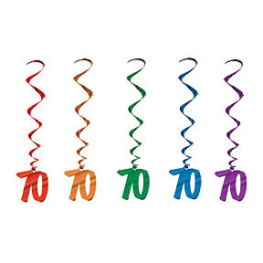 Dangling Birthday Whirls - 70th Assorted Colours