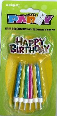 Candles - Happy Birthday Topper with 12 Rainbow Candles