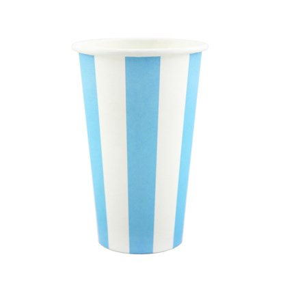 Cups Milkshake Blue Stripe Pk8