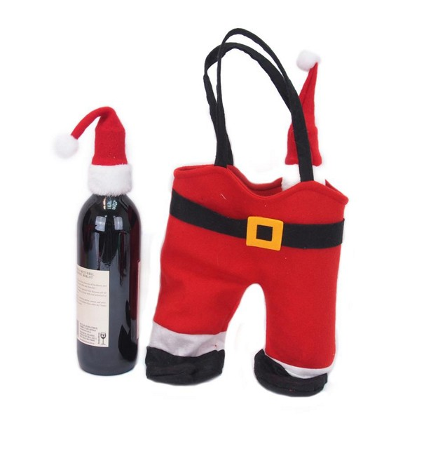 Xmas Bag Wine Santa Pants withTops
