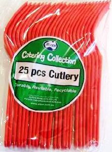 Cutlery Forks Red Pk25