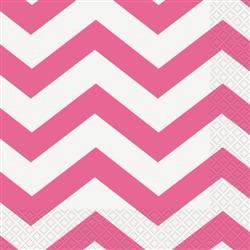 Napkins Chevron Lunch Hot Pink Pk16