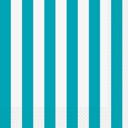 Napkins Stripe Lunch Teal Pk16