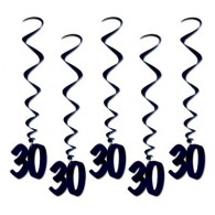 Dangling Birthday Whirls Black 30 Pk5