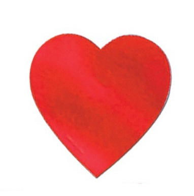 Cutouts Hearts Red 80mm Pk12