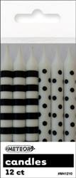 Candles Black Dots & Stripes Pk12