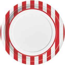 Plates Stripes Red 22cm Pk8