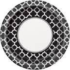 Plates Quatrefoil Black 23cm Pk8