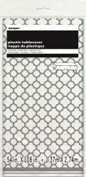 Table Cover Quatrefoil Silver 137x274